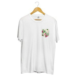 Camiseta BSC Flower Tropicano Pocket Full Print Branco
