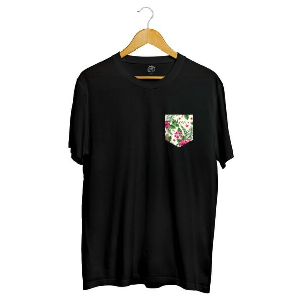 Camiseta BSC Flower Tropicano Pocket Full Print Preto