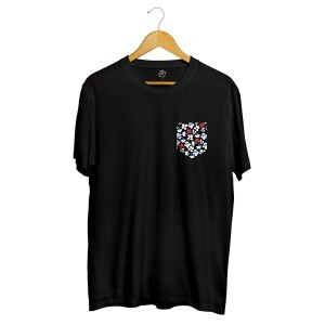 Camiseta BSC Print Flowers Pocket Full Print Preto