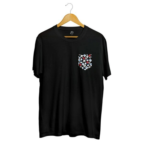 Camiseta BSC Print Flowers Pocket Sublimada Preto