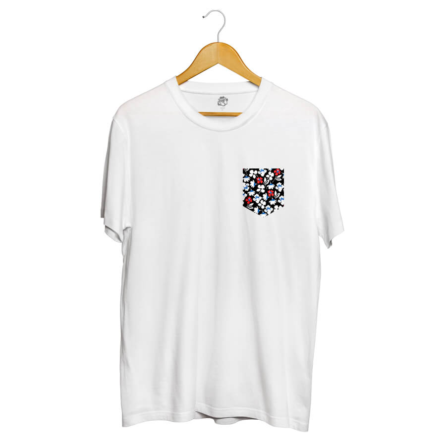Camiseta BSC Print Flowers Pocket Sublimada Branco