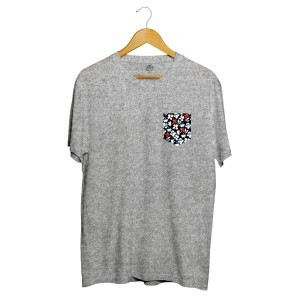 Camiseta BSC Print Flowers Pocket Full Print Cinza