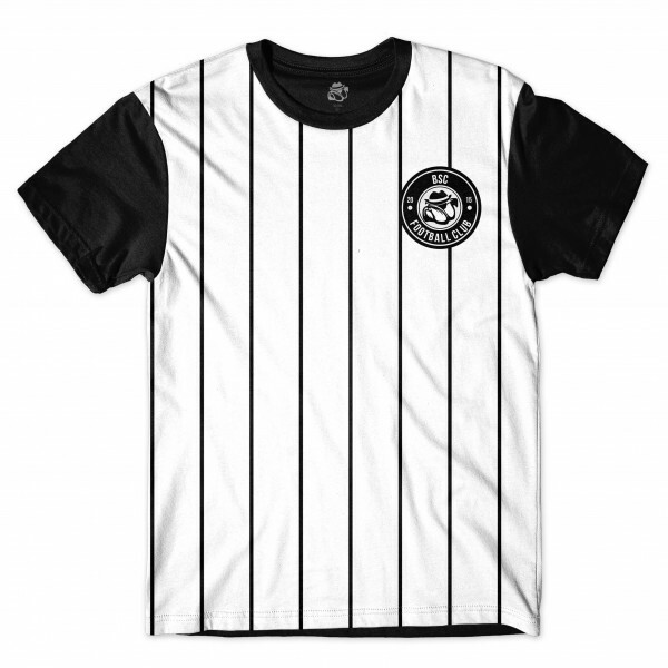 Camiseta BSC Football Club Full Print Branco/Preto
