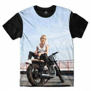 Camiseta BSC  Motorcycle Girl Full Print Preto