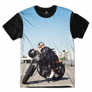 Camiseta BSC  Motorcycle Girl Swag Sublimada Preto