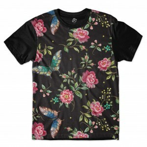 Camiseta BSC Butterfly On Dark Leaves Full Print Preto