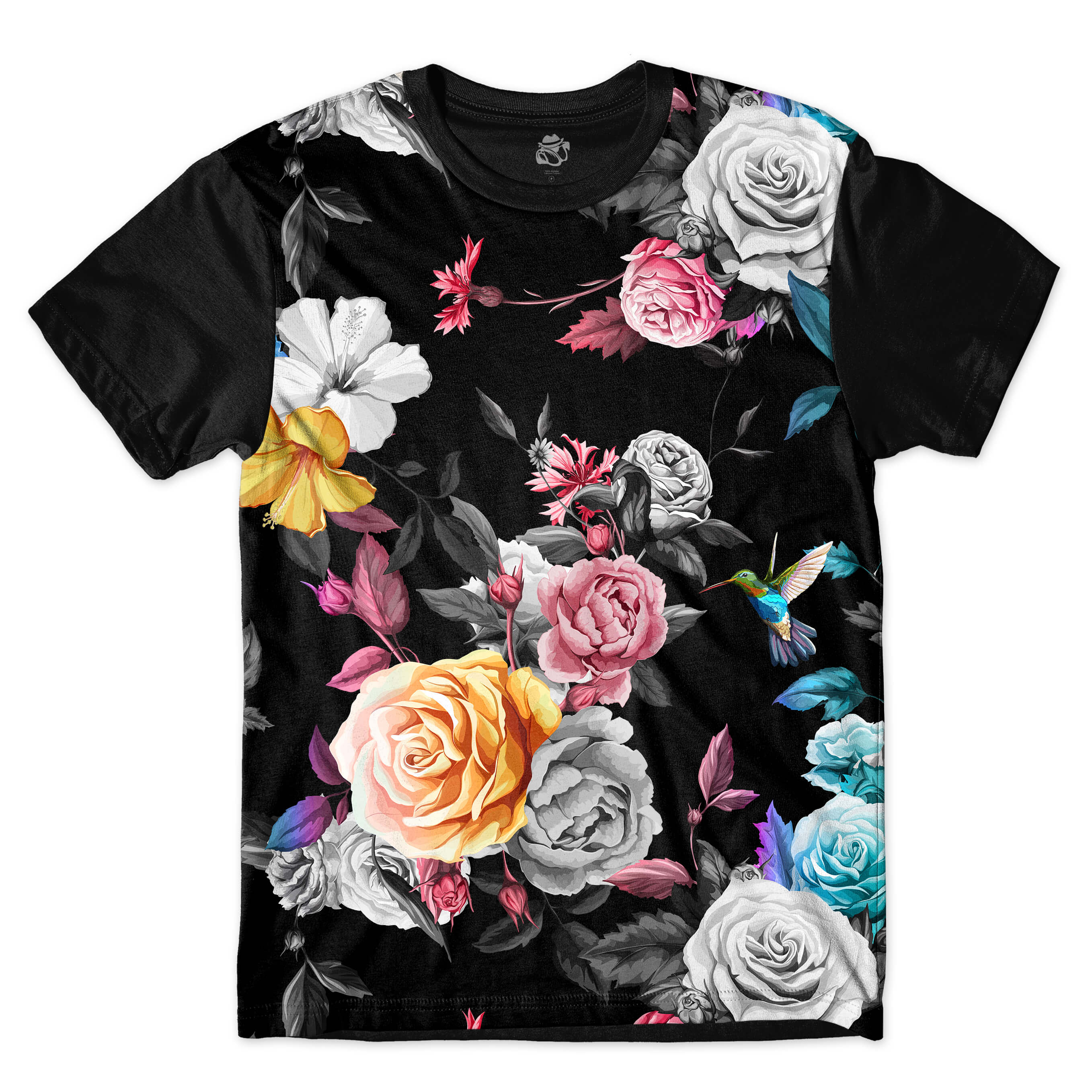Camiseta BSC hummingbird Dark Flowers Full Print Preto