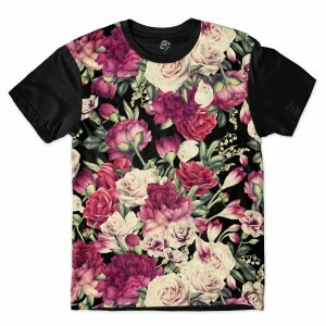 Camiseta BSC Vintage Dark Flower Sublimada Preto