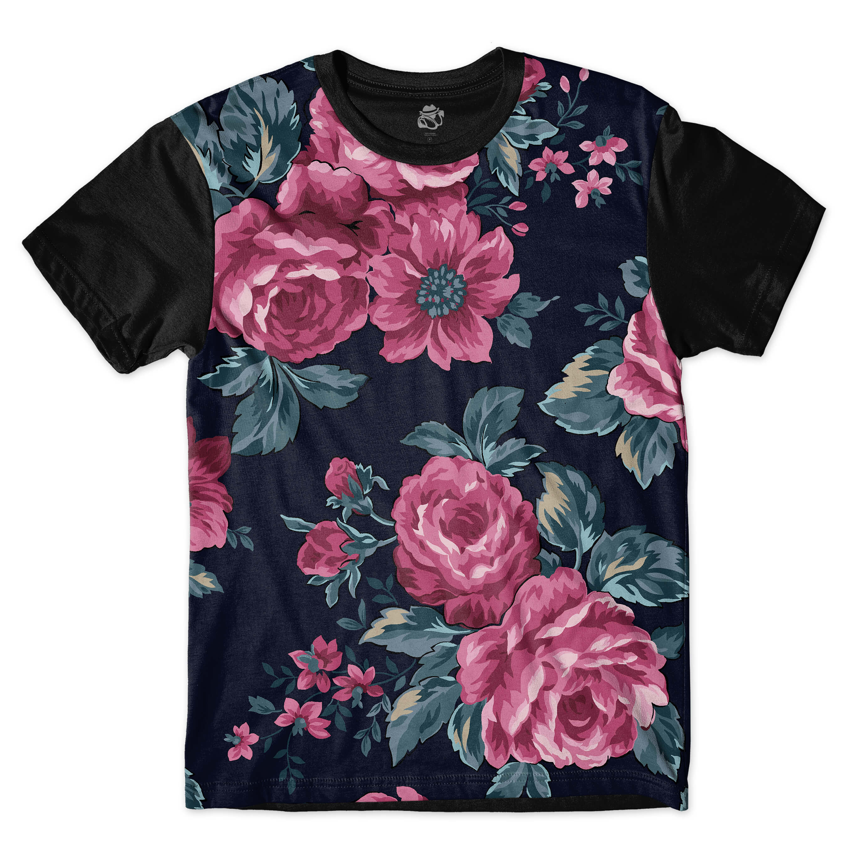 Camiseta BSC Vintage Purple Flowers Full Print Preto