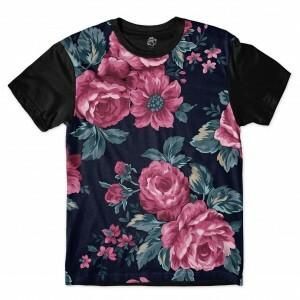 Camiseta BSC Vintage Purple Flowers Sublimada Preto
