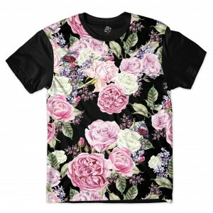 Camiseta BSC Moth Dark Flowers Sublimada Preto