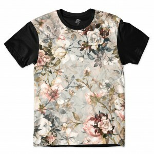 Camiseta BSC Flower Photo Full Print Preto