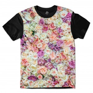 Camiseta BSC  Multicolored Flower Full Print Preto