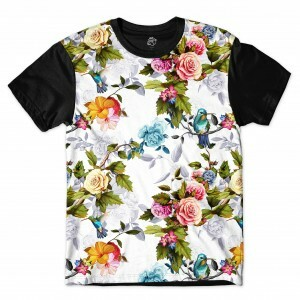 Camiseta BSC Blue Bird In Bloom Full Print Preto