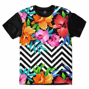 Camiseta BSC Ethnic Flower Full Print Preto