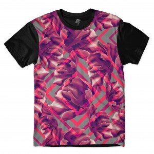 Camiseta BSC Ethnic Purple Flower Full Print Preto