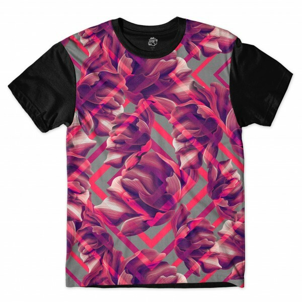 Camiseta BSC Ethnic Purple Flower Sublimada Preto