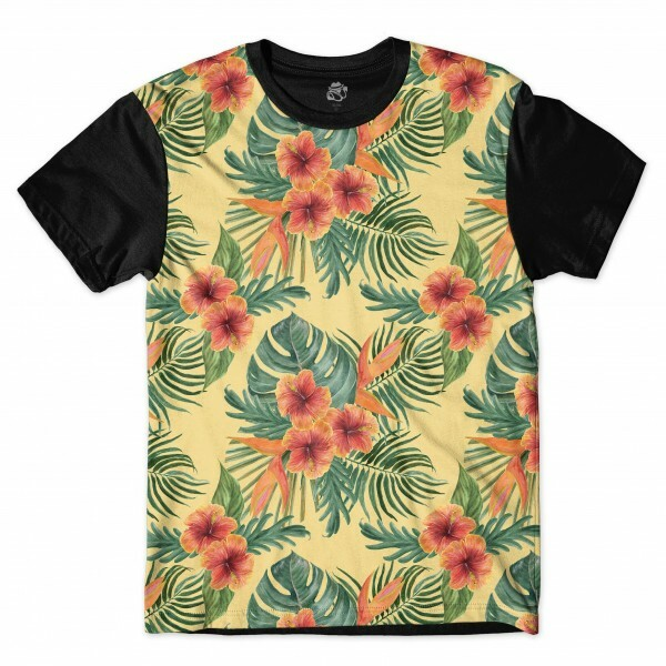 Camiseta BSC Palm Tree Flower Sublimada Preto