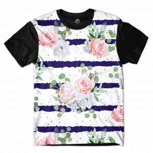Camiseta BSC Flower Ink Ribbon Sublimada Preto