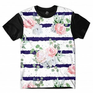 Camiseta BSC Flower Ink Ribbon Full Print Preto