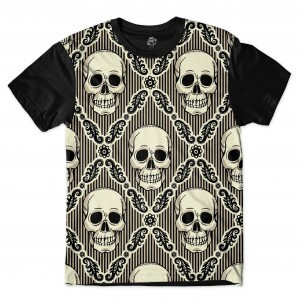 Camiseta BSC Striped skull Sublimada Preto