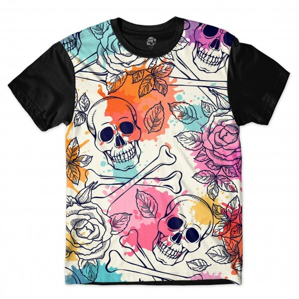 Camiseta BSC Skull Flower Ink Drop Full Print Preto