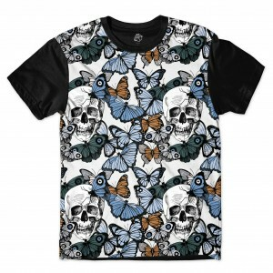 Camiseta BSC  Butterfly and Skull Sublimada Preto