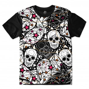 Camiseta BSC Star Diamond Skull Sublimada Preto
