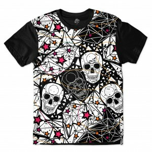 Camiseta BSC Star Diamond Skull Full Print Preto