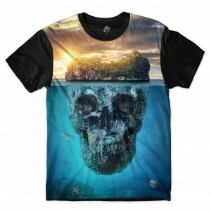 Camiseta BSC Mountain Skull Full Print Preto