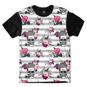 Camiseta BSC Rockabilly Skull Rose Sublimada Preto