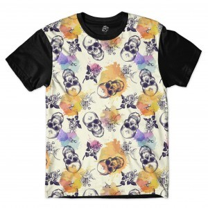 Camiseta BSC Skull and Roses Ink Drops Full Print Preto