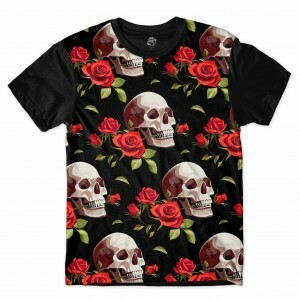 Camiseta BSC Smiling Skull Red Rose Full Print Preto