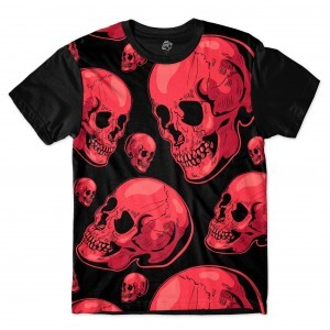 Camiseta BSC Red Skull Full Print Preto