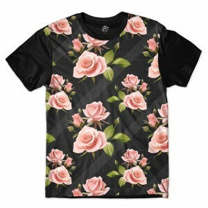 Camiseta BSC Wall Dark Flower Sublimada Preto