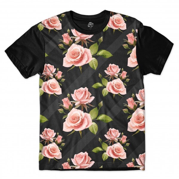 Camiseta BSC Wall Dark Flower Full Print Preto