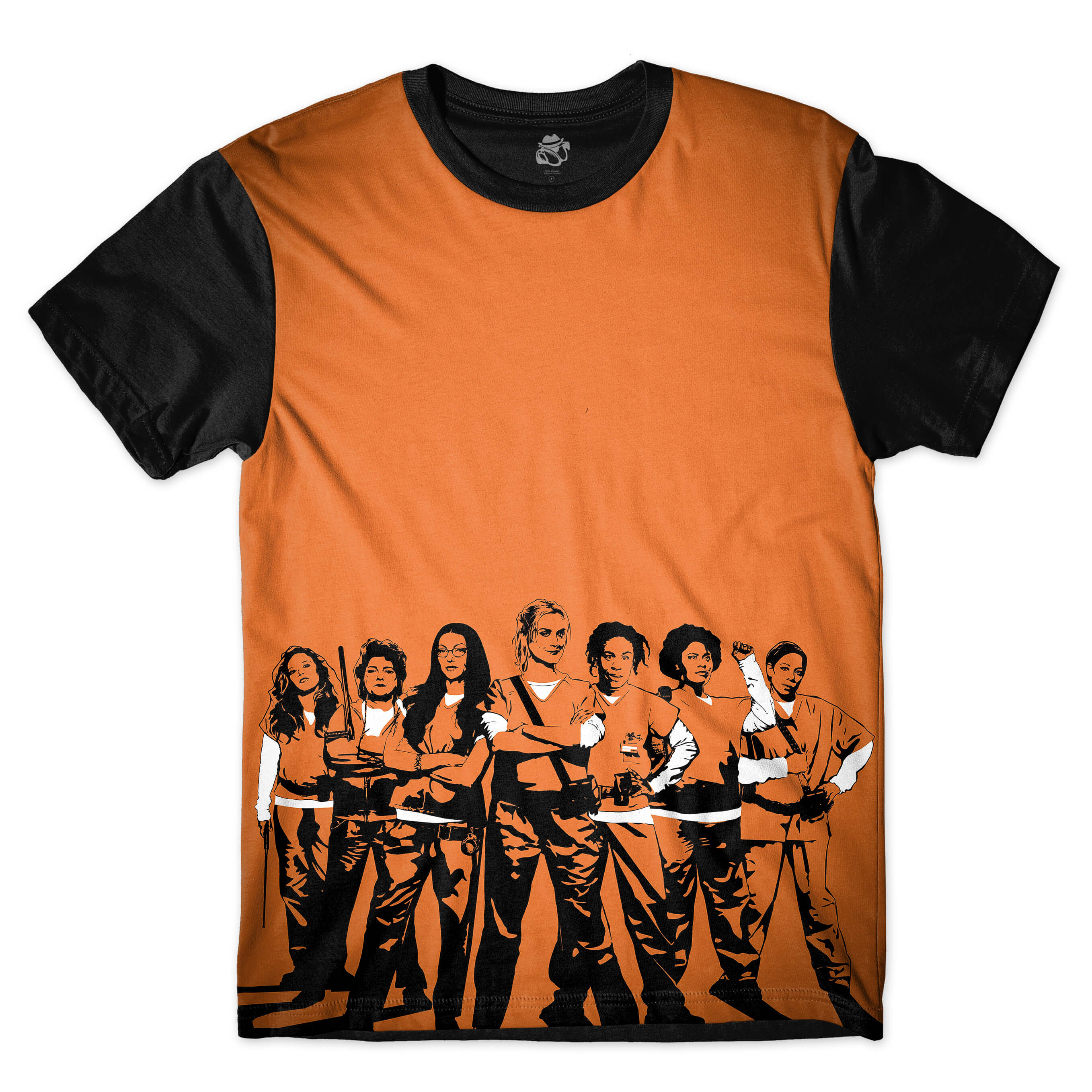 Camiseta BSC Orange Is the New Black Full Print Preto/Laranja