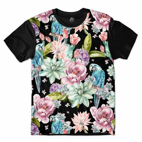 Camiseta BSC Great Blue Macaw Flower Full Print Preto