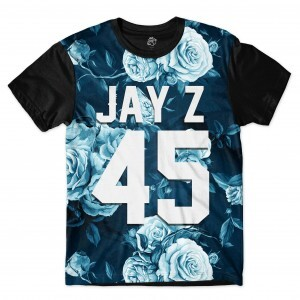 Camiseta BSC JAY Z 45 Blue Rose Full Print Preto