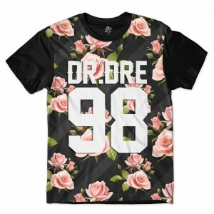 Camiseta BSC DR DRE 98 Wall Dark Flower Sublimada Preto