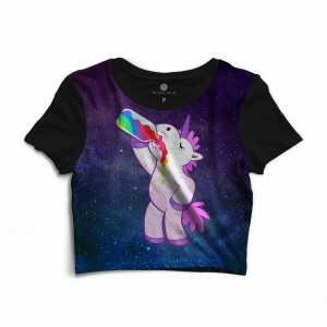 Cropped Morena Deluxe Drunk Unicorn Sublimada Preto