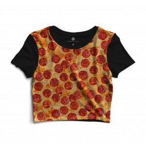 Cropped Morena Deluxe Pepperoni Pizza Full Print Preto