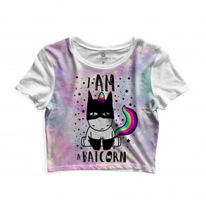 Cropped Morena Deluxe I am a Batcorn Full Print Branco