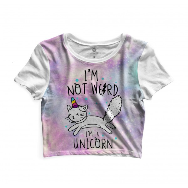 Cropped Morena Deluxe Im not Weird Full Print Branco