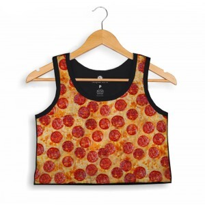 Cropped Morena Deluxe Regata Pepperoni Pizza Full Print Preto