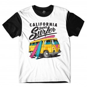 Camiseta BSC Califórnia Super Surfer Sublimada Preto/Branco