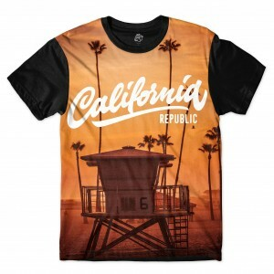 Camiseta BSC Califórnia Republic Beach Sublimada Preto/Laranja