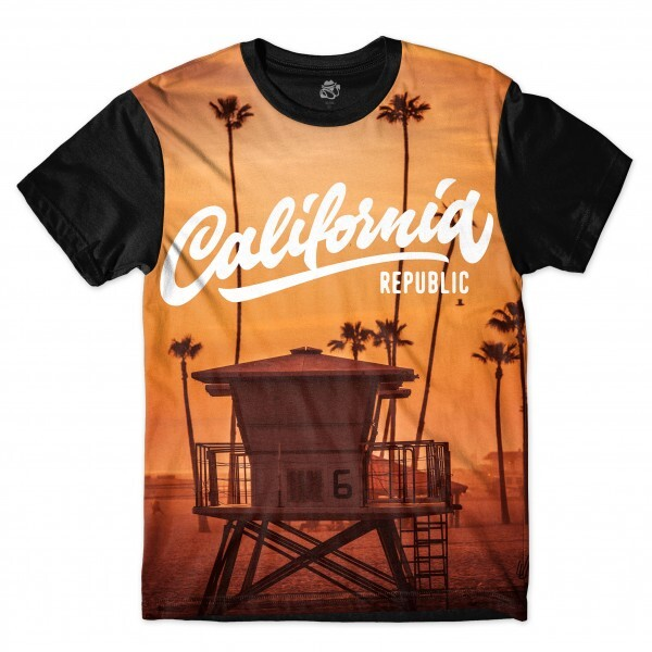 Camiseta BSC Califórnia Republic Beach Full Print Preto/Laranja