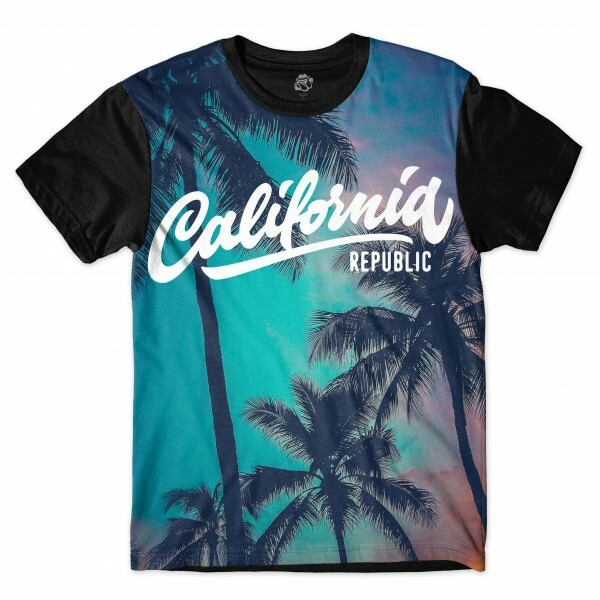 Camiseta BSC Califórnia Republic Palm Tree Full Print Preto/Azul