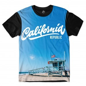 Camiseta BSC Califórnia USA Beach Full Print Preto/Azul